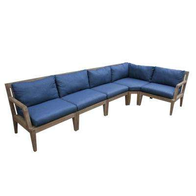 Bermuda Wood Outdoor Sectional with Richloom Indigo Cushion