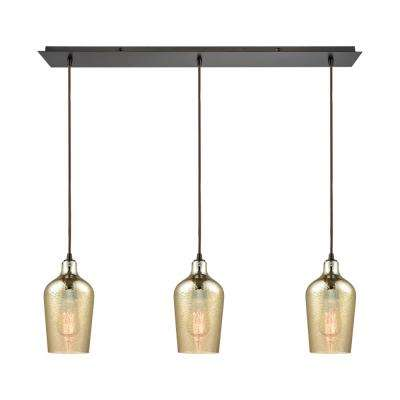 Hammered Glass 3-Light Linear Pan in Oil Rubbed Bronze with Hammered Amber Plated Glass Pendant