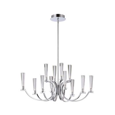 Cromo Collection 12-Light Polished Chrome Oval Chandelier with Clear Glass Shade