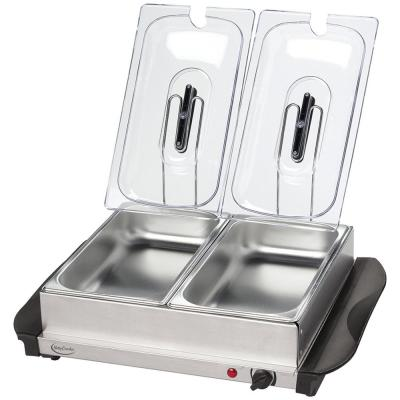 5 Qt. Stainless Steel Buffet Server with Two Warming Crocks