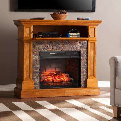 Bridgewater 45.5 in. W Corner Infrared Electric Media Fireplace in Brown Sienna