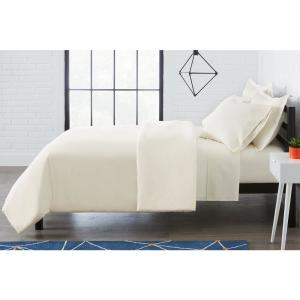 Brushed Soft Microfiber 3-Piece Full/Queen Duvet Cover Set in Ivory