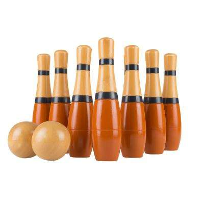 8 in. Wooden Orange and Grey Bowling Lawn Game