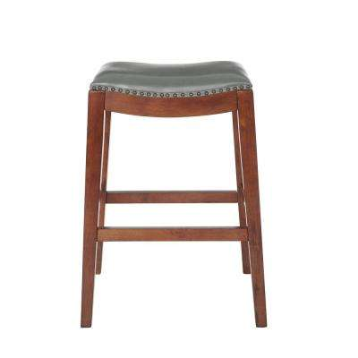 Metro 29 in. Saddle Stool with Nail Head Accents and Espresso Legs with Pewter Bonded Leather