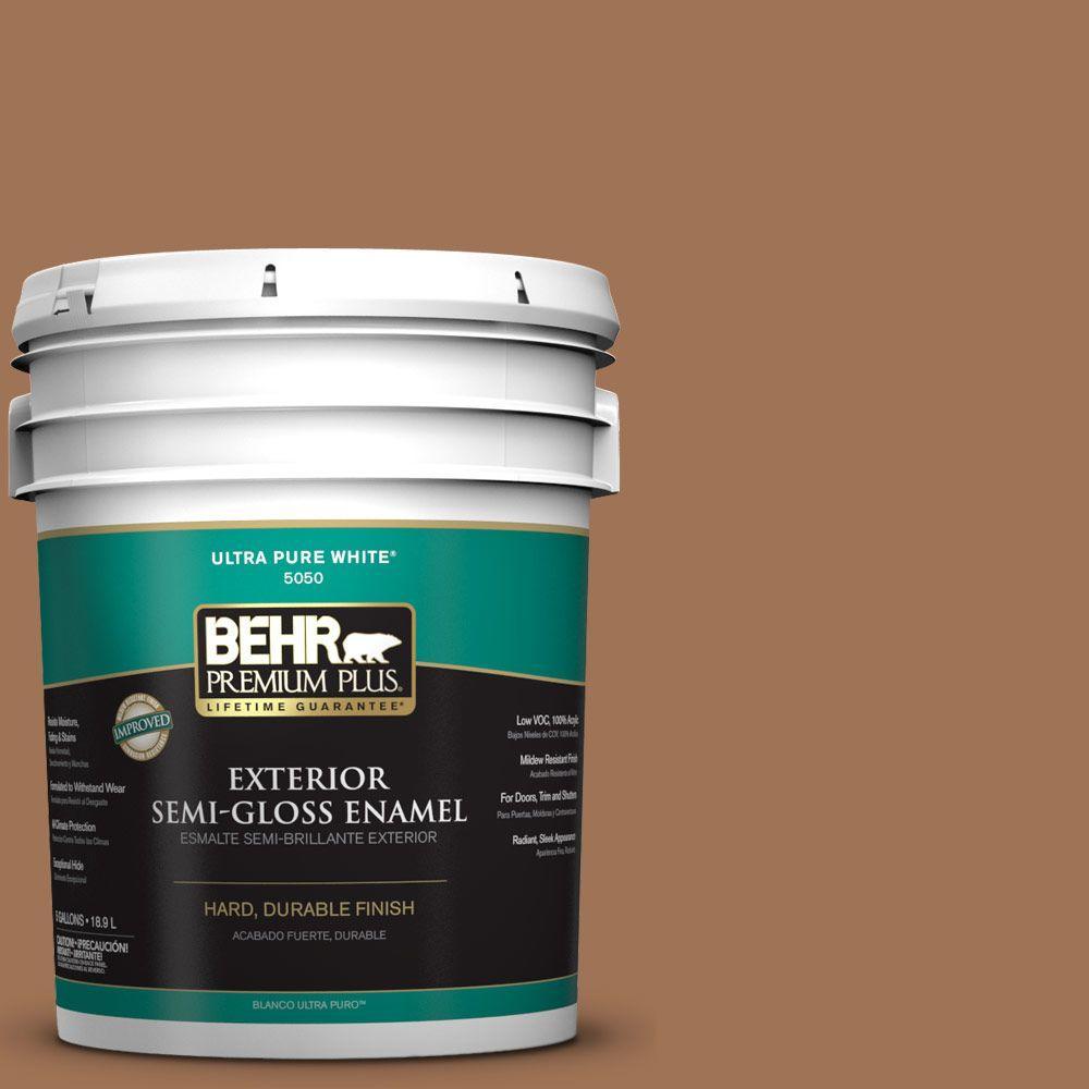 5-gal. #S240-6 Ranch Brown Semi-Gloss Enamel Exterior Paint