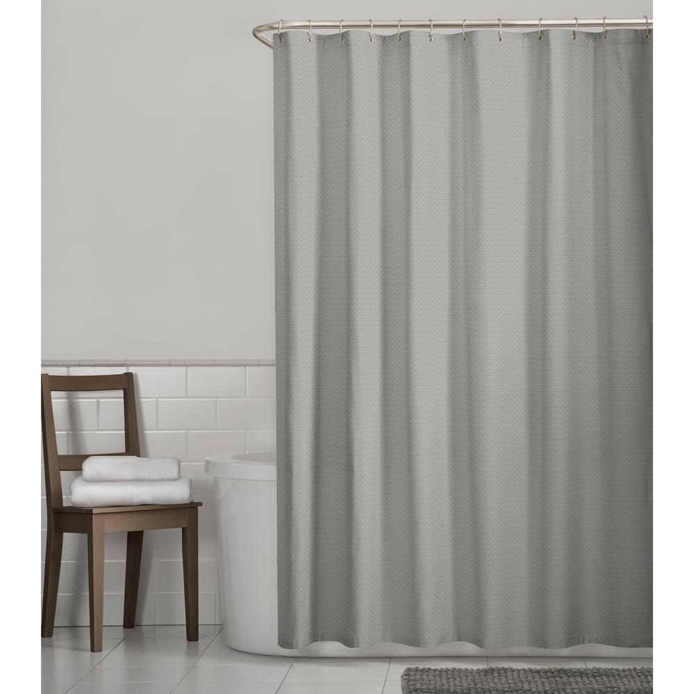 Glacier Bay Luxury Spa Waffle 72 in. x 72 in. Fabric Shower Curtain in Grey