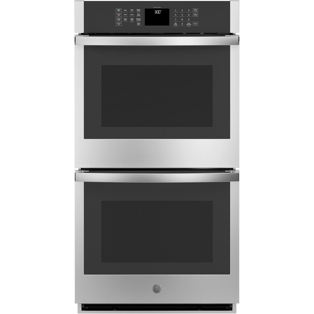 GE 27 in. Smart Double Electric Wall Oven Self-Cleaning with Steam in Stainless Steel