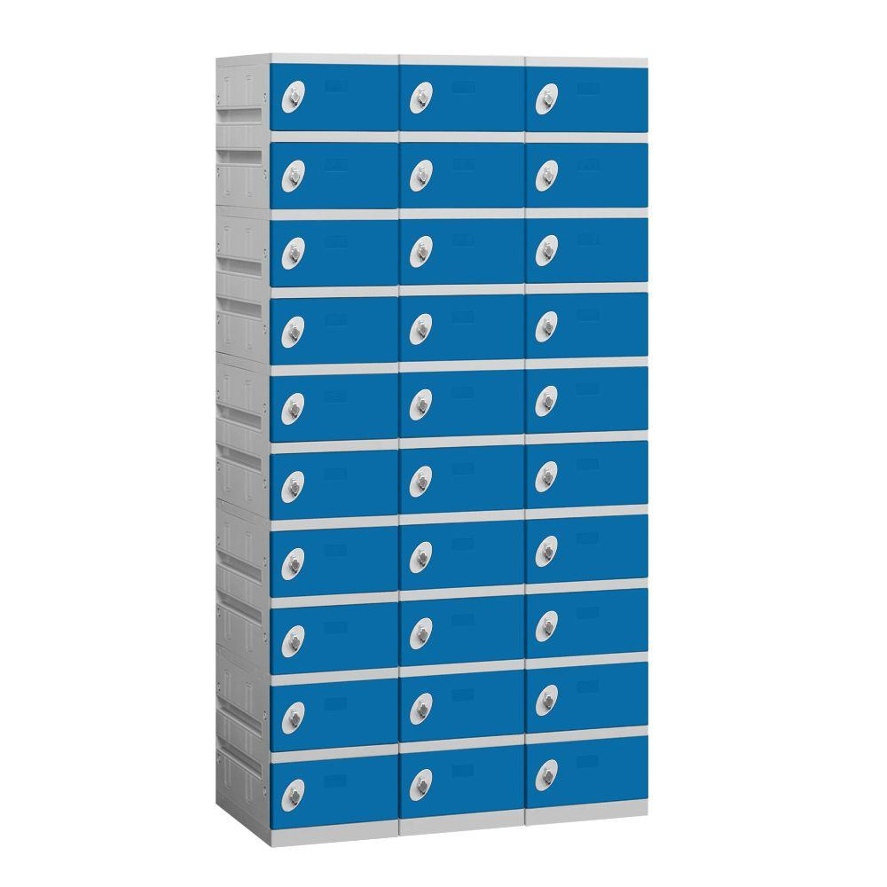 Salsbury Industries 90000 Series 38.25 in. W x 74 in. H x 18 in. D 10-Tier Plastic Lockers Assembled in Blue