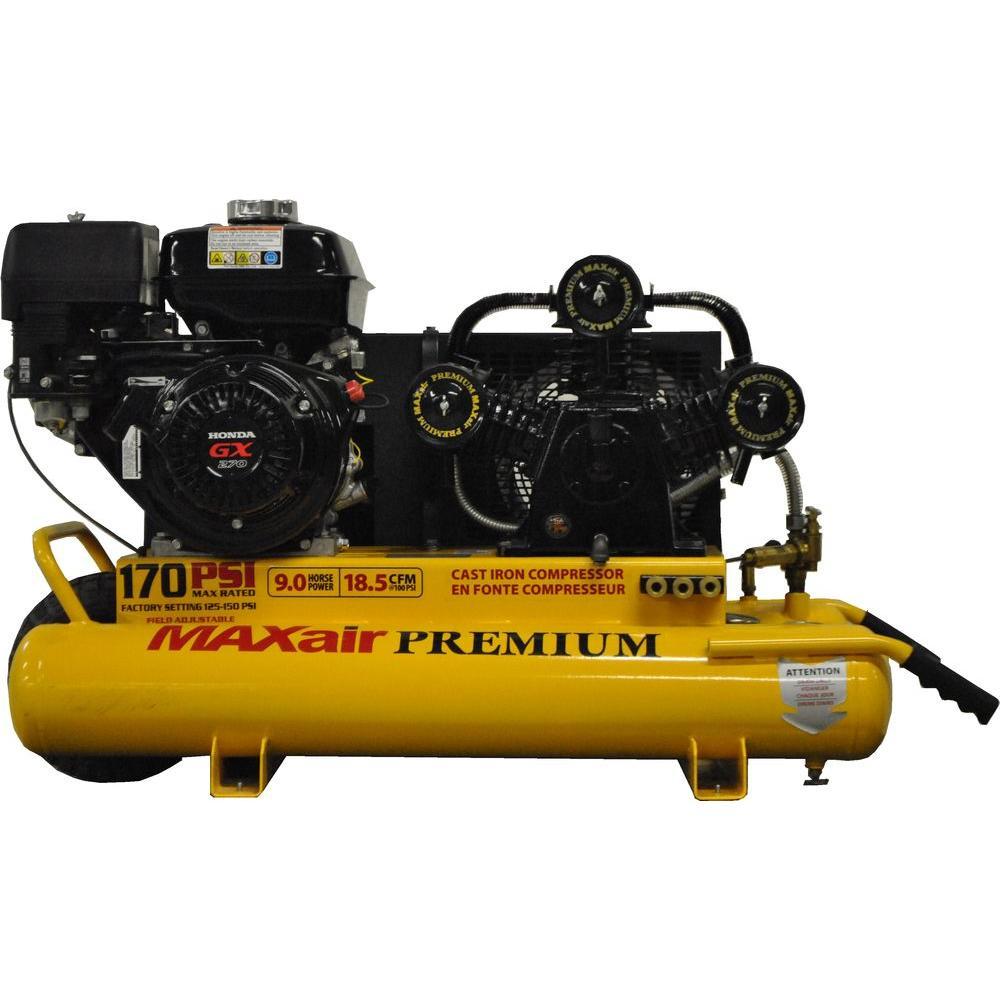 Maxair Wheelbarrow Premium Industrial 10-Gal. 9 HP GX270 Honda Engine Portable Electric Start Air Compressor