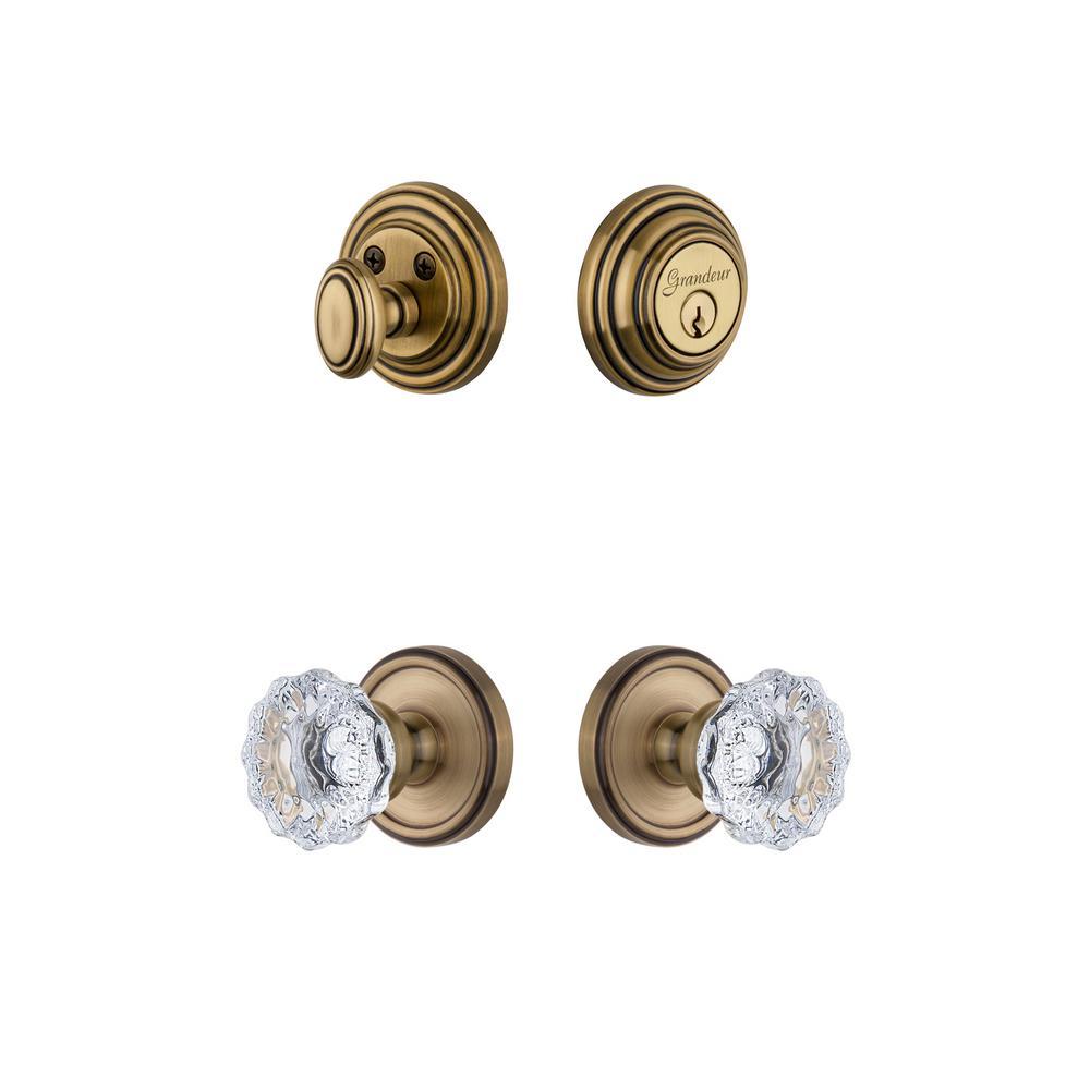 Georgetown Rosette 2-3/8 in. Backset Vintage Brass Fontainebleau Crystal Door Knob with Single Cylinder Deadbolt