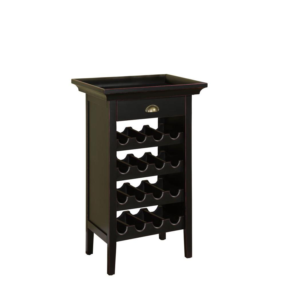 Powell 16-Bottle Black Floor Wine Rack