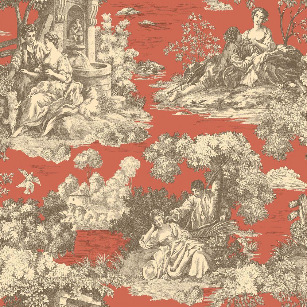The Wallpaper Company 10 in. x 8 in. Orange Romantic Toile Wallpaper Sample-DISCONTINUED