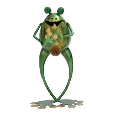 14 in. H x 8 in. L x 4 in. W Metal Musician Frog