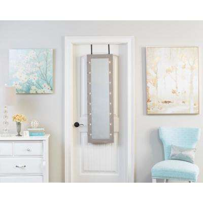 Weathered Gray Mirrored Jewelry Armoire with LED Lights