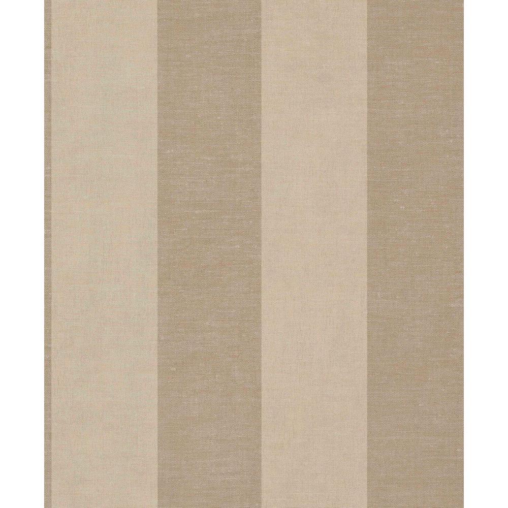 Brown & Tan Large Linen Stripes Wallpaper
