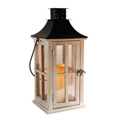 Lantern 7 in. x 17 in. Wooden White Washed lantern Black Roof with LED Candle