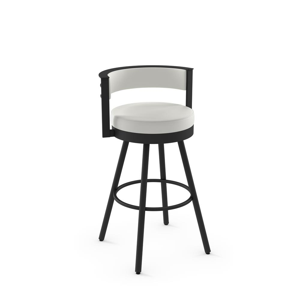Outstanding Amisco Eller 30 In Off White Faux Leather Black Metal Bar Alphanode Cool Chair Designs And Ideas Alphanodeonline