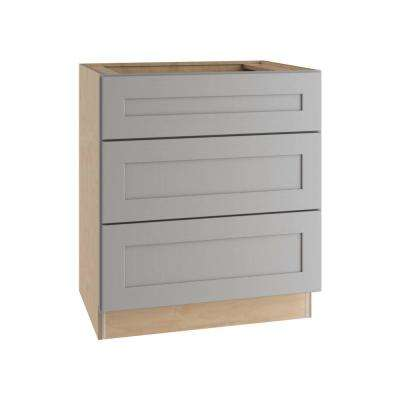 Tremont Assembled 24 in. x 34.5 in. x 24 in. Base Kitchen Cabinet with 3 Soft Close Drawers in Pearl Gray