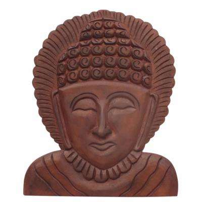Brown Buddha Wooden Wall Hanging Art Decor