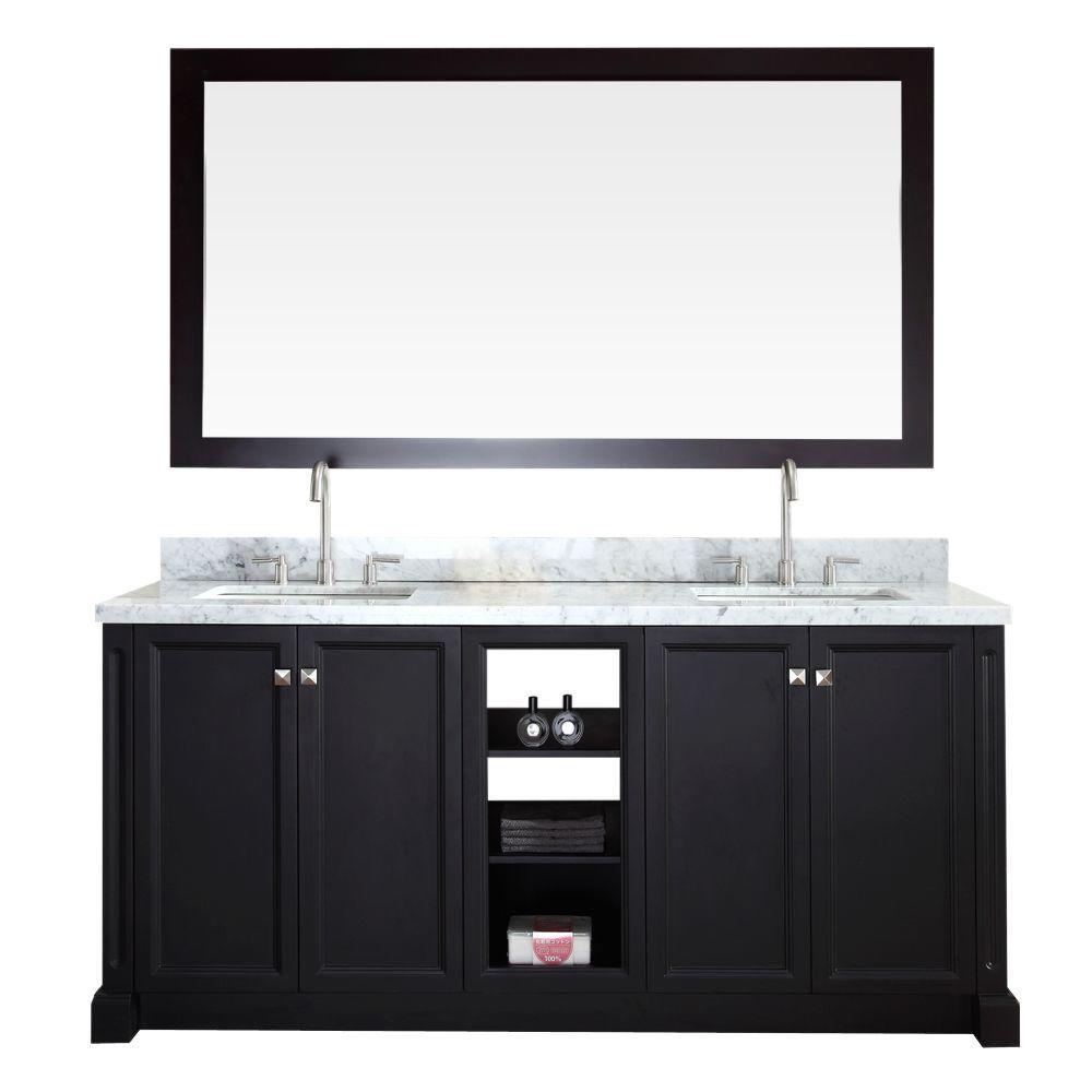 Ariel Westwood 73 in. Bath Vanity in Black with Marble Vanity Top in Carrara White, Under-Mount Basins and Mirror