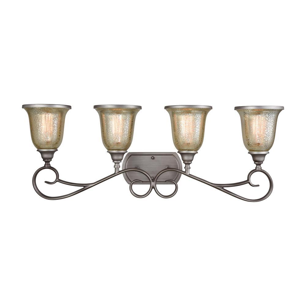 Georgetown 4-Light Weathered Zinc with Mercury Glass Bath Light