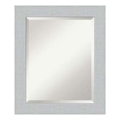 Medium Rectangle Distressed White Beveled Glass Casual Mirror (24.25 in. H x 20.25 in. W)