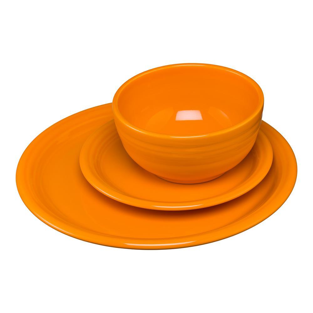 3-Piece Bistro Butterscotch Ceramic Dinnerware Set (Service for 1)