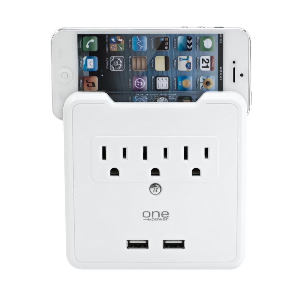 3-Outlet Dual USB Wall Tap with Phone Stand Surge Protector