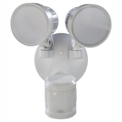 180° White Motion Activated Outdoor Integrated LED Twin Head Flood Light with Warm White Light Output