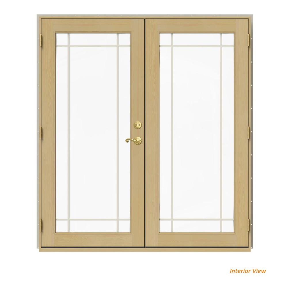 Jeld wen 72 in x 80 in w 2500 desert sand clad wood - Interior french doors home depot ...
