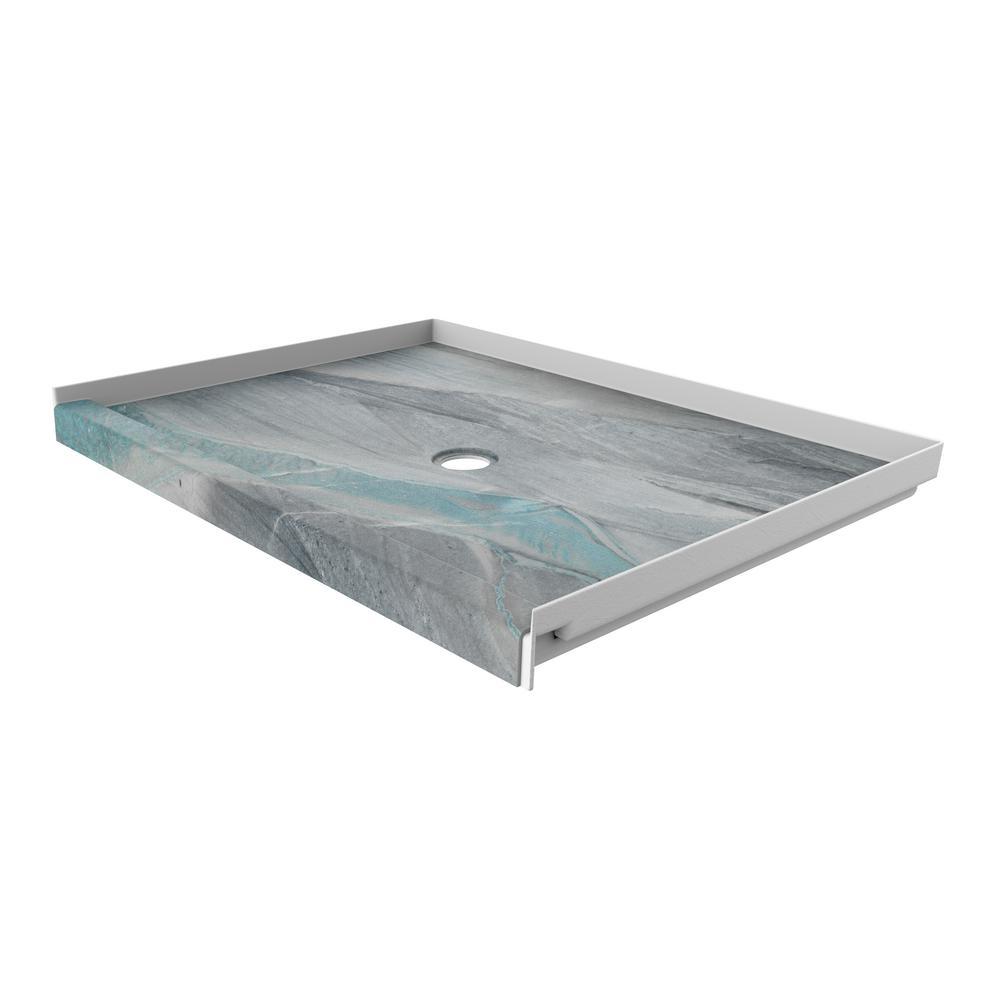 FlexStone 48 in. x 34 in. Single Threshold Shower Base with Center Drain in Triton