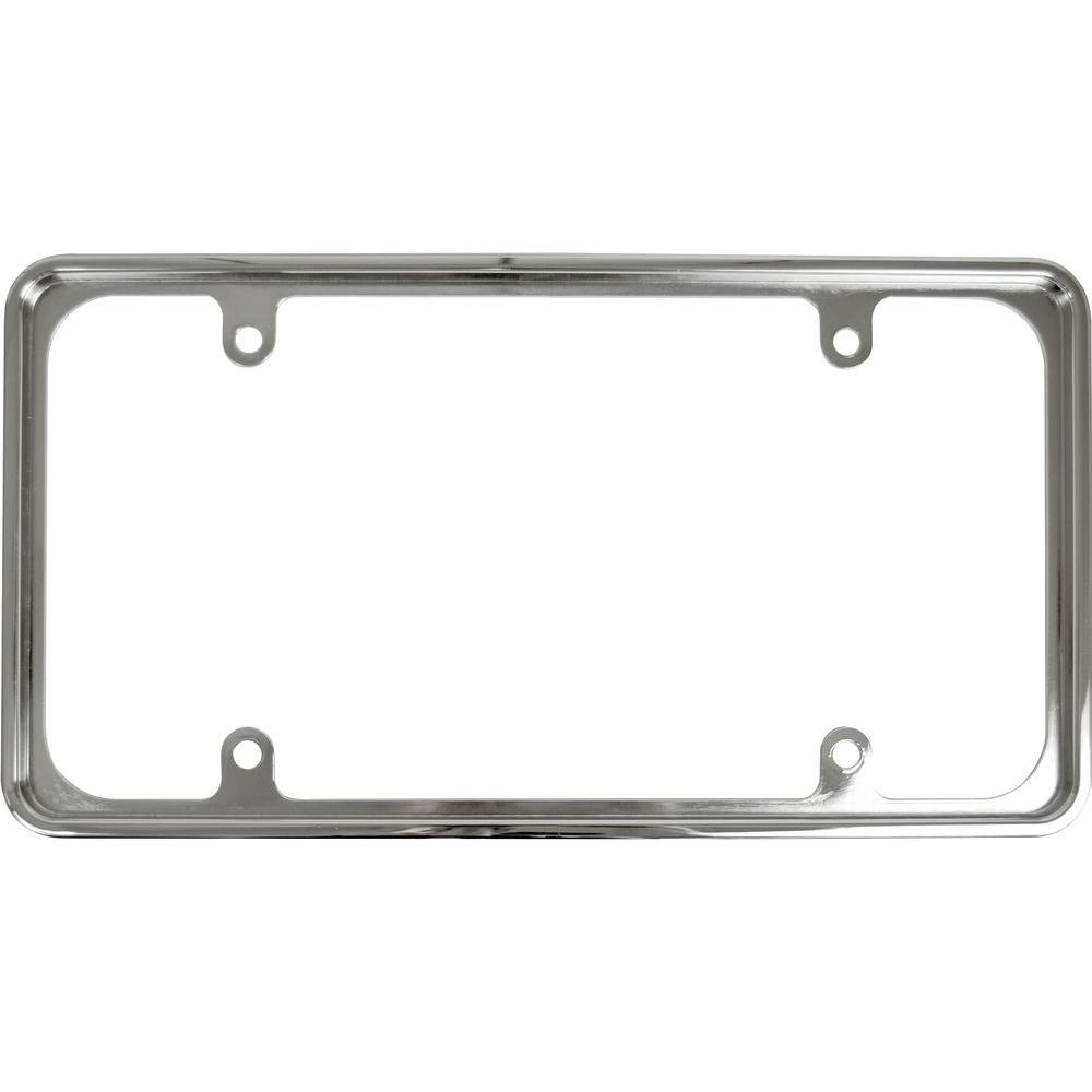 null recessed metal license plate frame in chrome - Metal License Plate Frames