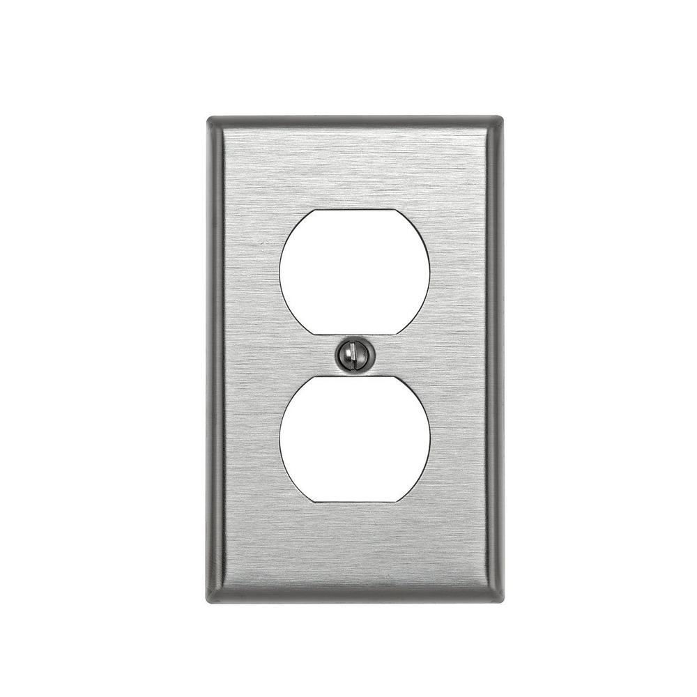 Leviton Stainless Steel 1-Gang Duplex Outlet Wall Plate (1-Pack)