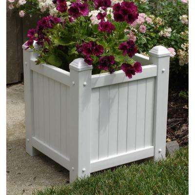 14-1/2 in. Square White Vinyl Slat Planter