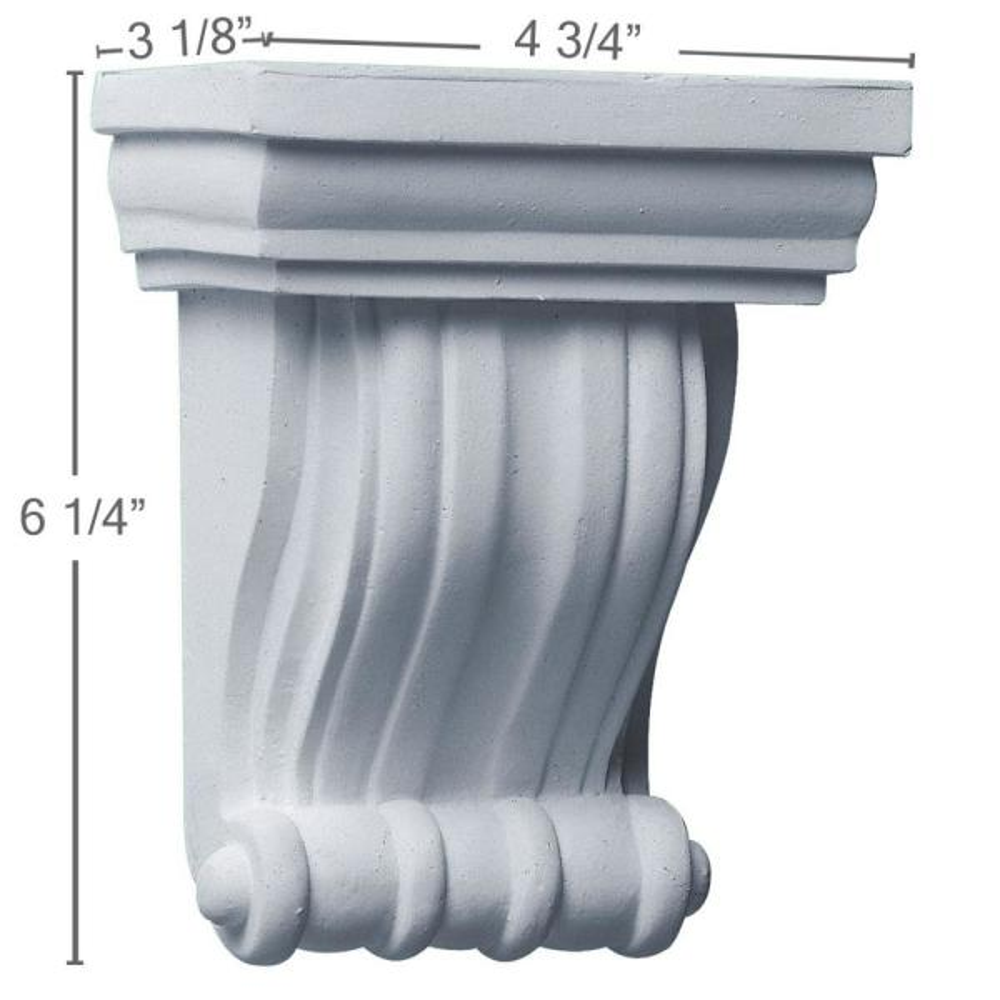 Ekena Millwork 4 3 4 In X 3 1 8 In X 6 1 4 In Primed Polyurethane Waltz Corbel Cor04x06x03wa The Home Depot