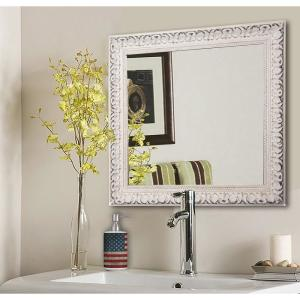 39 5 In X French Victorian White Square Vanity Wall Mirror