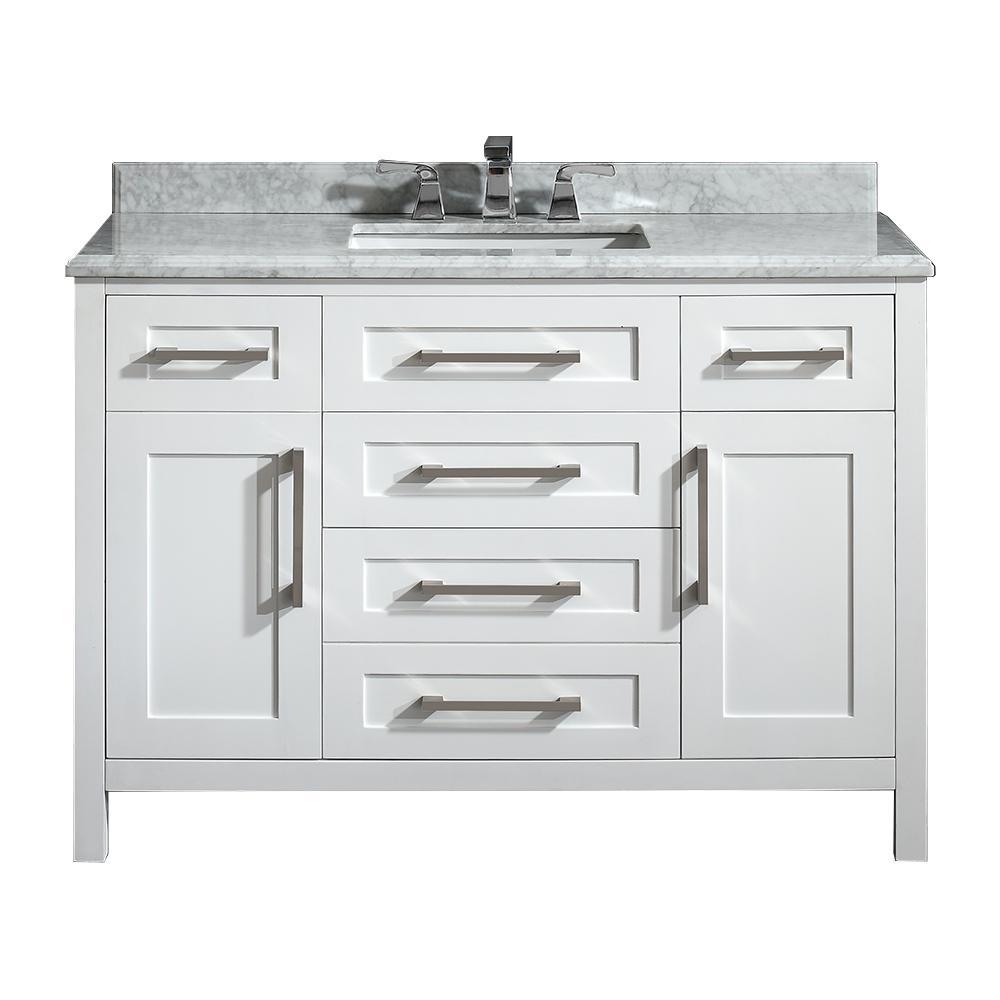 Santa Monica 48 in. W x 21 in. D Vanity in White with Marble Vanity Top in White with White Basin