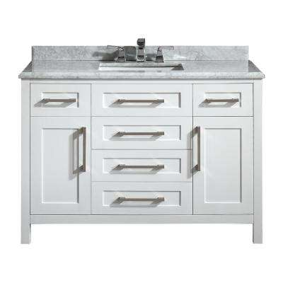 Santa Monica 48 in. W x 21 in. D Vanity in White with Marble Vanity Top in White with White Basin