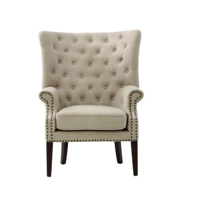 Ernest Dark Beige Polyester Arm Chair
