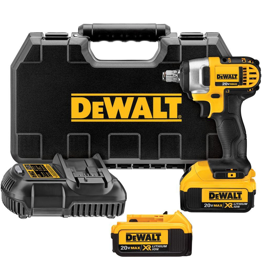 1 2 Cordless Impact >> Dewalt 20 Volt Max Lithium Ion Cordless 1 2 In Impact Wrench Kit With 2 Batteries 4ah Charger And Case
