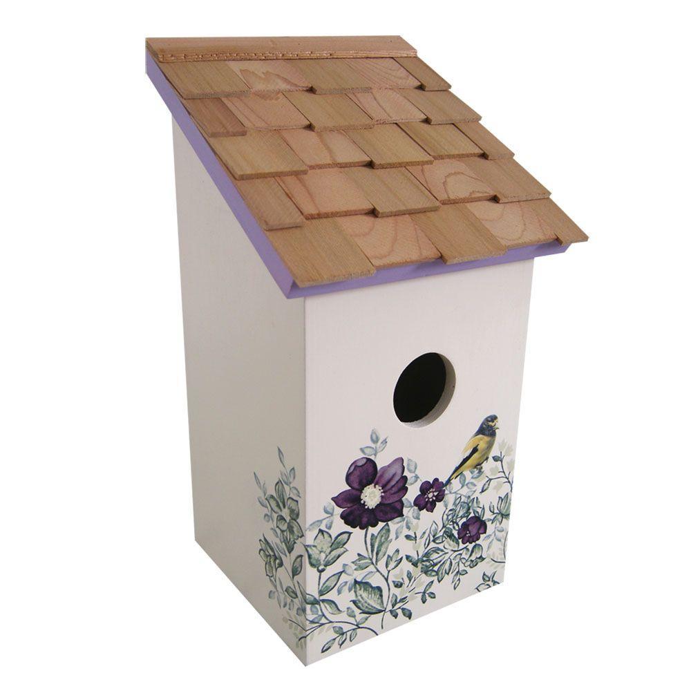 Home Bazaar Anemone, Cream Background Printed Salt Box Birdhouse