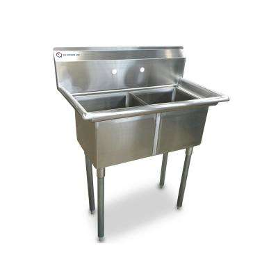 Freestanding Stainless Steel 35 in. x 20.5 in. x 43.75 in. 2-Hole Single Bowl Kitchen Sink with Silver Faucet