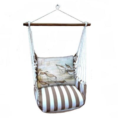 3-Piece Wood Polyester Cushioned Porch Swing with Sea Birds Print Back Pillow