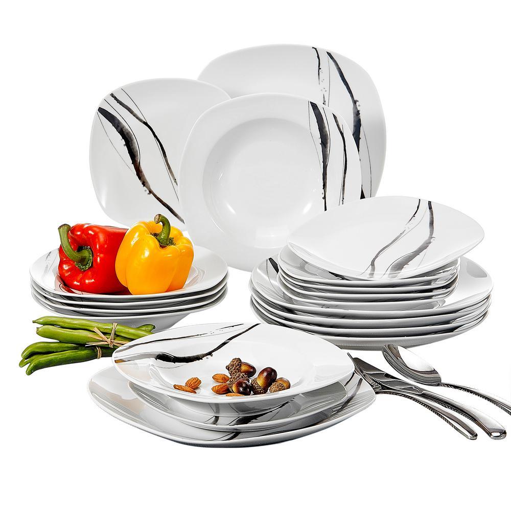 TERESA 18-Piece White Porcelain Dinnerware Set Dinner Plates Set for Dessert Soup (Service for 6)