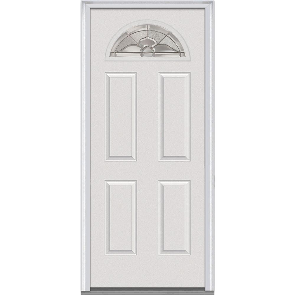 32 in. x 80 in. Master Nouveau Left Hand 1/4 Lite 4-Panel Classic Primed Fiberglass Smooth Prehung Front Door