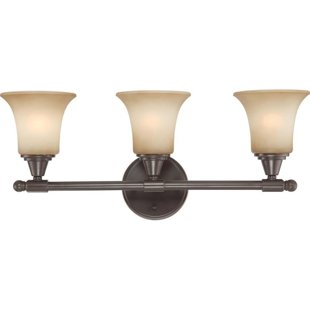 3-Light Vintage Bronze Vanity Fixture with Auburn Beige Glass
