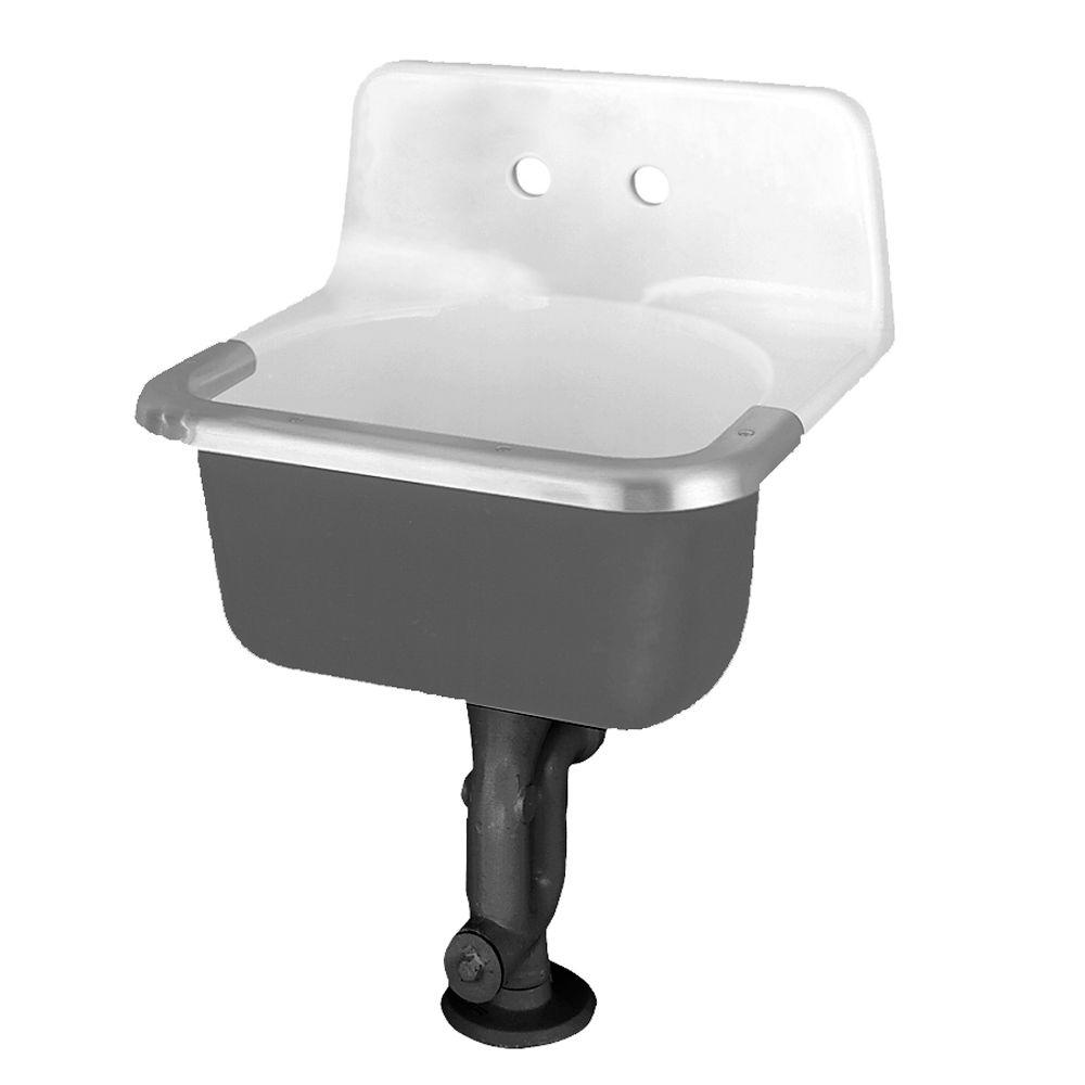 American Standard Akron Service Sink With Drilled Back On 8 In Centers And Rim Guard