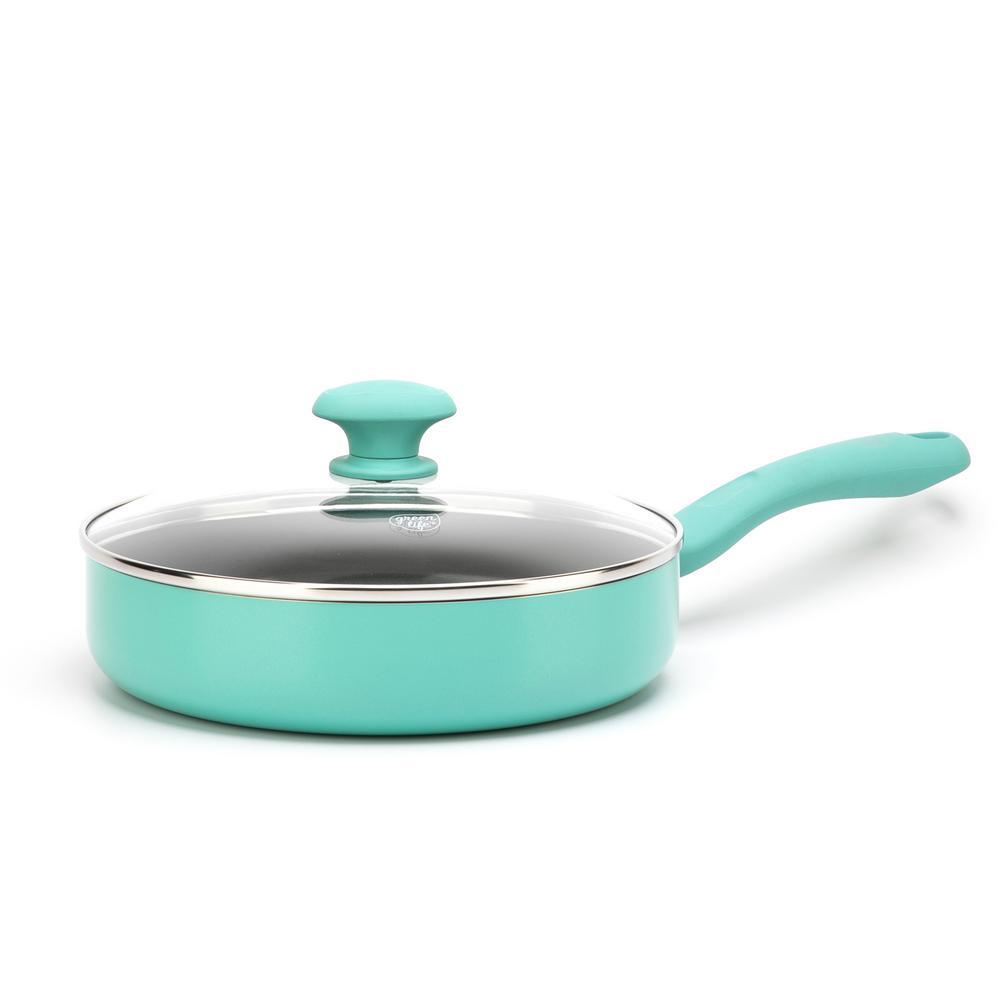 Diamond 5 qt. Aluminum Ceramic Nonstick Saute Pan in Turquoise with Glass Lid