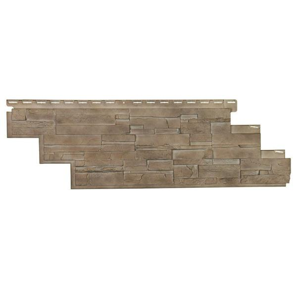 Dry Stacked Stone 41-1/2 in. x 13-1/8 in. Brownstone Vinyl Siding (10-Pack)