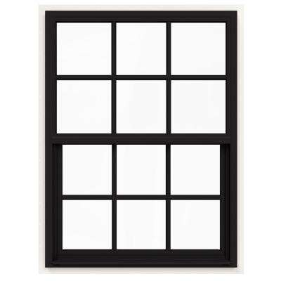 36 in. x 48 in. V-4500 Series Black FiniShield Single-Hung Vinyl Window with 6-Lite Colonial Grids/Grilles
